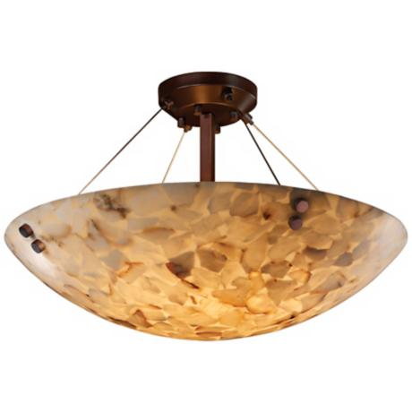 "Alabaster Rocks Dark Bronze 18"" Wide Semiflush Ceiling Light"