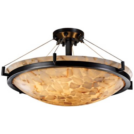 "Alabaster Rocks Matte Black Semiflush 27"" Wide Ceiling Light"