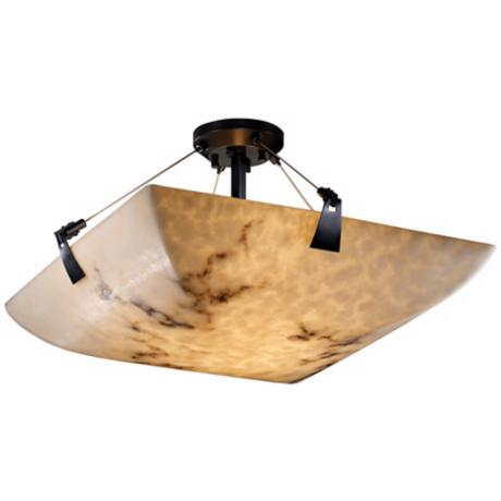 "LumenAria Faux Alabaster 18"" Wide Semiflush Ceiling Light"
