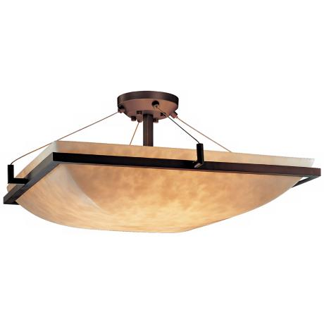 "LumenAria Faux Alabaster 24"" Wide Semiflush Ceiling Light"