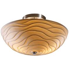 Limoges Nickel Faux Porcelain Semiflush Ceiling Light