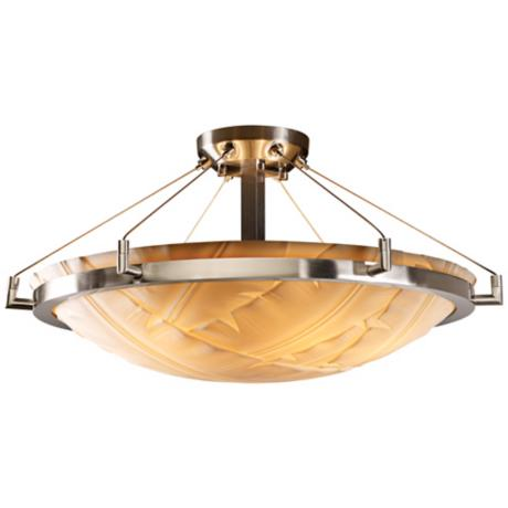 "Porcelina Nickel Finish 26 1/2"" Wide Semiflush Ceiling Light"