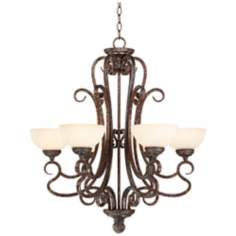 "French Bronze Scroll 28 1/2"" Wide Chandelier"