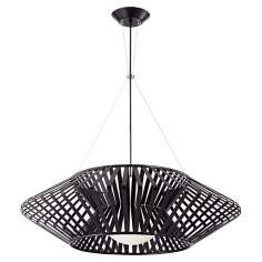 Possini Euro Planet Chrome and Black Pendant Chandelier