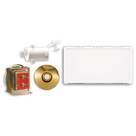 White Hardwired Stucco Button Door Chime Contractor Kit