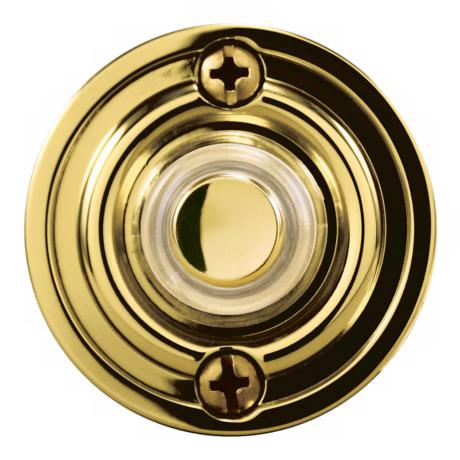 "Polished Brass 1 3/4"" Round LED Doorbell Button"