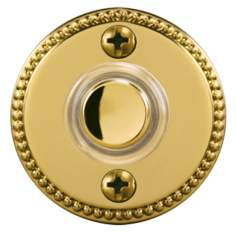 "Polished Brass 1 3/4"" Beaded Round LED Doorbell Button"