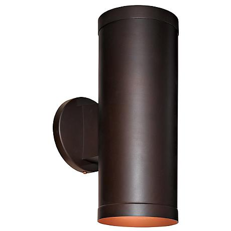 "Poseidon Bronze Tube Up/Downlight 12"" High Outdoor Sconce"