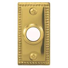 Polished Brass Beaded Lighted Doorbell Button
