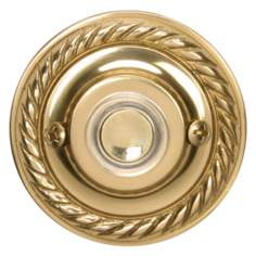Polished Brass Rope Trim Round Lighted Doorbell Button