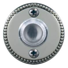 "Satin Nickel 1 3/4"" Beaded Round LED Doorbell Button"