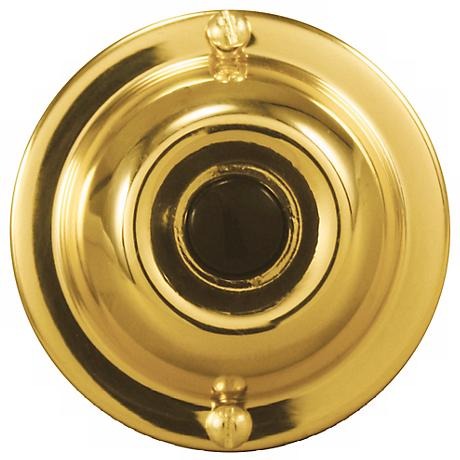 "Basic Series Gold with Black 1 3/4"" Round Doorbell Button"