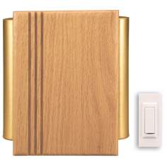 Natural Oak Finish Satin Brass Side Tube Wireless Door Chime