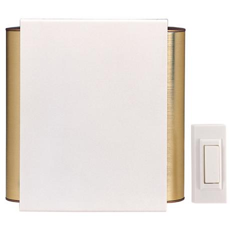 Off White Finish Satin Brass Side Tube Wireless Door Chime