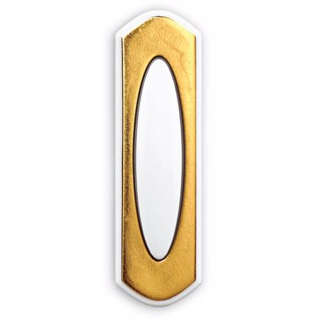White and Brass Surface Mount Wireless Doorbell Button