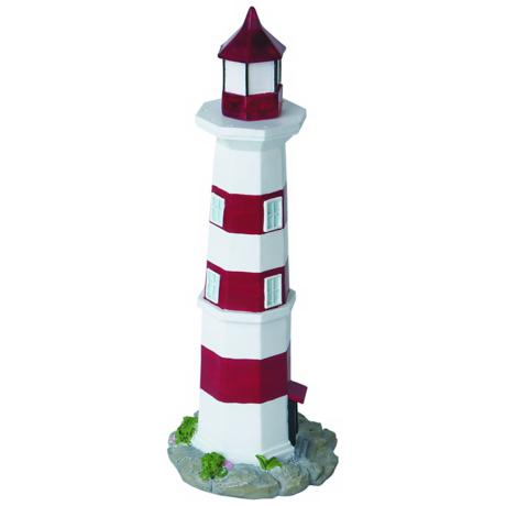 Solar Red and White Lighthouse LED Landscape Accent Light