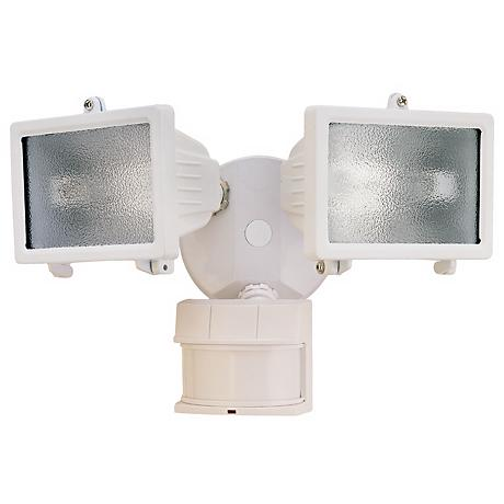 "White Finish 13"" Wide 2-Light Motion Sensor Security Light"
