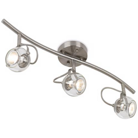 LED or Halogen Mini Wave Brushed Nickel 3-Light Ceiling Fixture