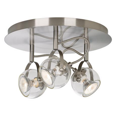 Brushed Nickel and Clear Glass 3-Light Ceiling Fixture