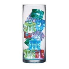 10 Colored Ice Cube LED Lights in Clear Vase