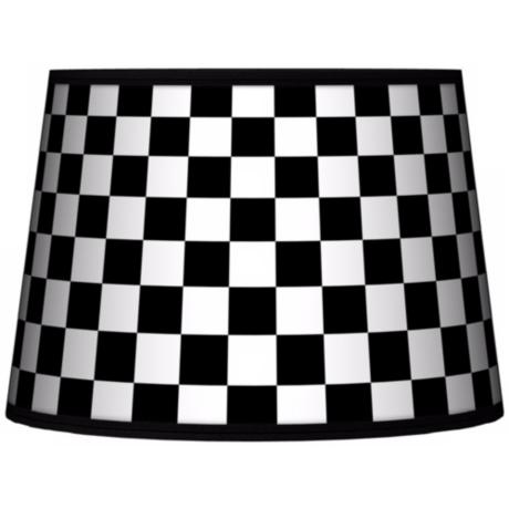 Checkered Black Tapered Lamp Shade 10x12x8 (Spider)