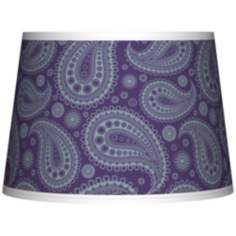 Purple Paisley Linen Tapered Lamp Shade 10x12x8 (Spider)