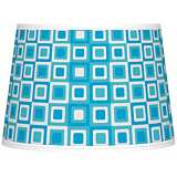 Blue Boxes Linen Tapered Lamp Shade 10x12x8 (Spider)