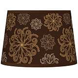 Chocolate Blossom Linen Tapered Lamp Shade 10x12x8 (Spider)