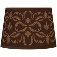 Mocha Flourish Linen Tapered Lamp Shade 10x12x8 (Spider)