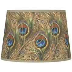 Iridescent Feather Giclee Tapered Lamp Shade 10x12x8 (Spider)