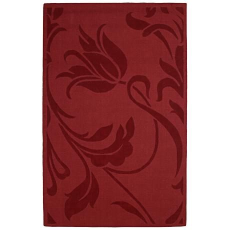 Auckland Collection Wild Tulip Red Wool Area Rug