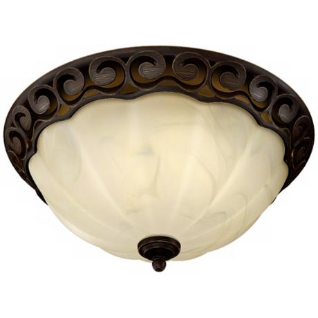 Decorative Scroll Rubbed Bronze Bathroom Fan with Light