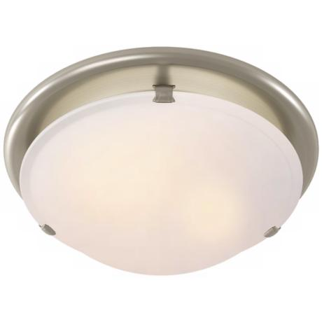 Sleek Circle Brushed Nickel Bathroom Fan with Light