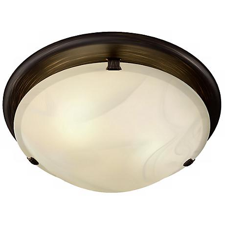 Sleek Circle Rubbed Bronze Bathroom Fan with Light