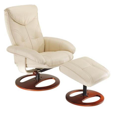 Newport Vanilla Swivel Recliner and Slanted Ottoman