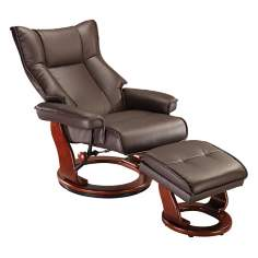 Morgan Espresso Faux Leather Ottoman and Swiveling Recliner