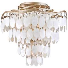 "Dolce Capiz Shell 16"" Wide Semiflush Ceiling Light"