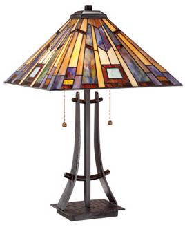 Robert Louis Tiffany Earthtones Mission Iron Table Lamp