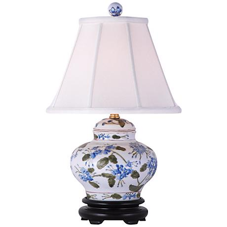 Blue and Green Floral Hand-Painted Ceramic Table Lamp