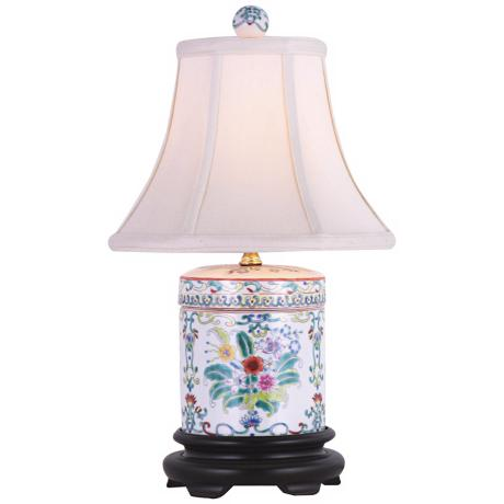 Cover Jar Multicolored Porcelain Table Lamp