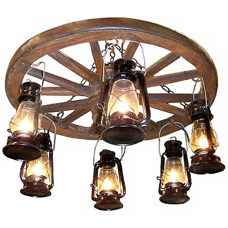 "Amberwood Hanging Lanterns 24"" Wagon Wheel Chandelier"