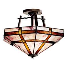 "Kichler Bronze Tiffany Style 16"" Wide Ceiling Light"