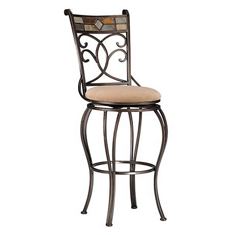 "Hillsdale Pompei Black Gold Swivel 24"" High Counter Stool"