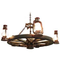 "Amberwood Side Lanterns 48"" Wagon Wheel Chandelier"