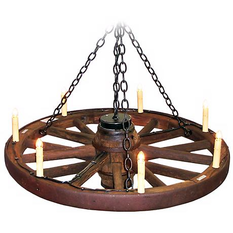 "Amberwood Candelabra Style 48"" Wagon Wheel Chandelier"