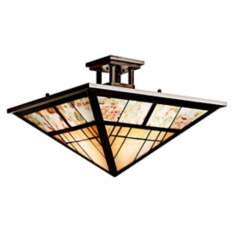 "Kichler Olde Bronze Cut Stone 14"" Wide Ceiling Light"
