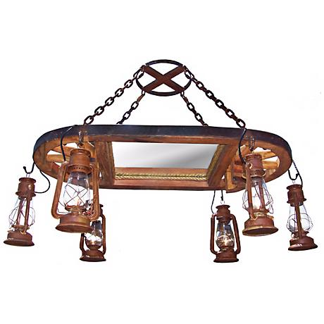 Amberwood Rust Lanterns Wagon Wheel Island Chandelier