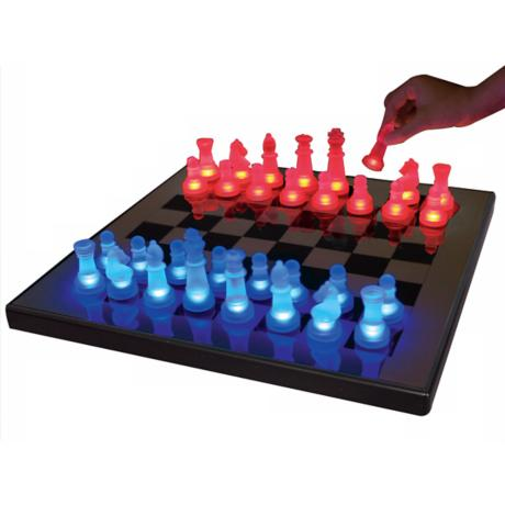 LED Glow Blue and Red Chess Set