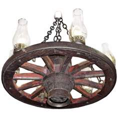 "Amberwood Clear Hurricanes 24"" Wagon Wheel Chandelier"