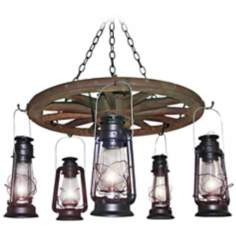 "Amberwood Black Lanterns 24"" Wagon Wheel Chandelier"